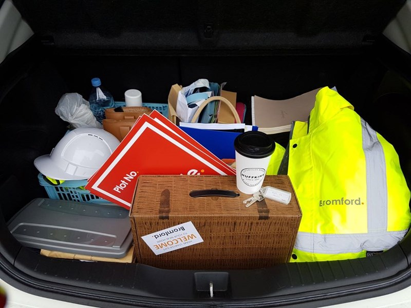 We've always got a full boot. Hi vis, hard hat, welcome hamper and tea for the journey are standard!