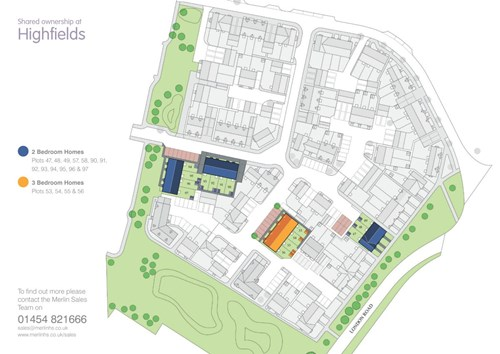 Site map of homes to buy at Highfields, Tetbury